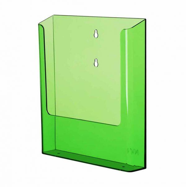 Neonfarget brosjyreholder i grønn, rød og blå akryl.